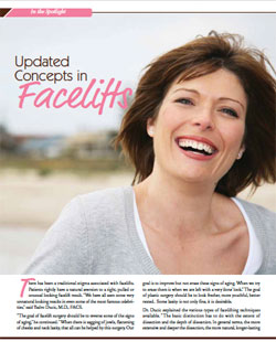 Living Magazine article, Dr Ducic explaining facelift surgery.