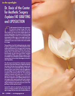 Living Magazine article, Dr Ducic explains fat grafting and liposuction.