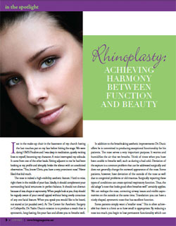 Living Magazine article, Doctor Yadro Ducic explains the art of rhinoplasty.