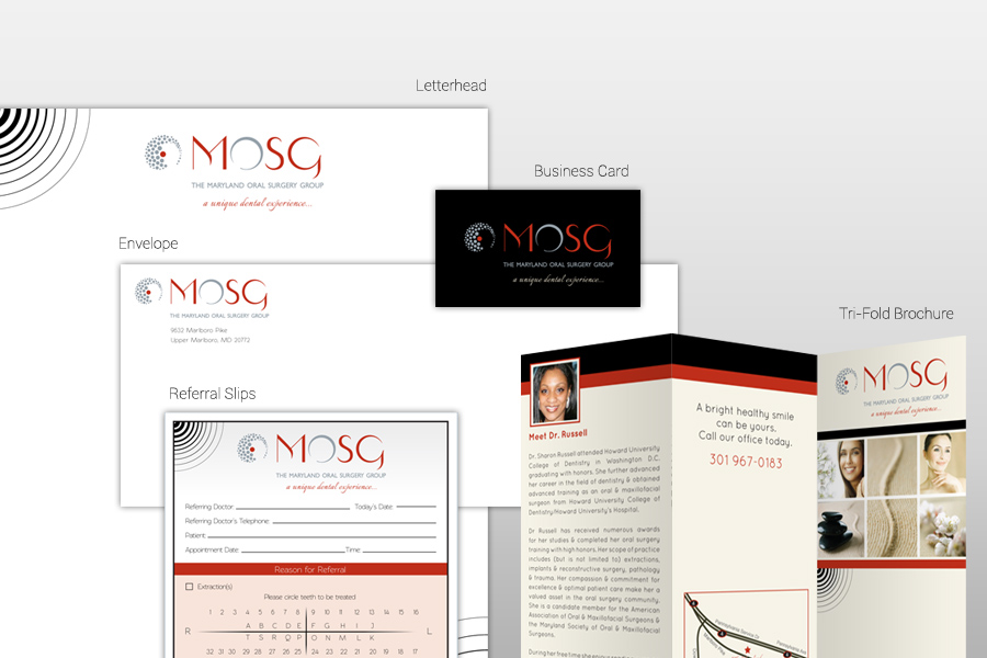 Snapshot of the marketing collateral developed for Dr. Russell by PBHS, a Dental Website Design company